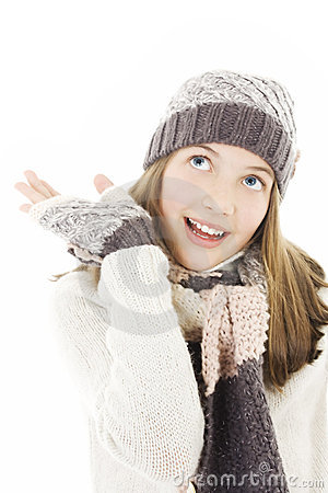 Smiling woman in winter style