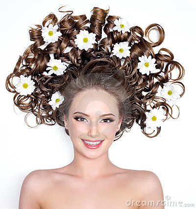 Free Smiling Woman With Flowers In Hair Royalty Free Stock Photos - 18831888