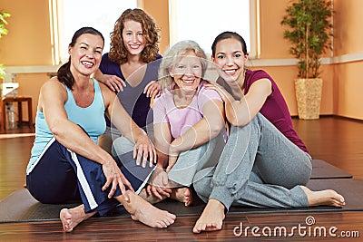 Smiling women in fitness center