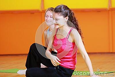 Smiling women in gym