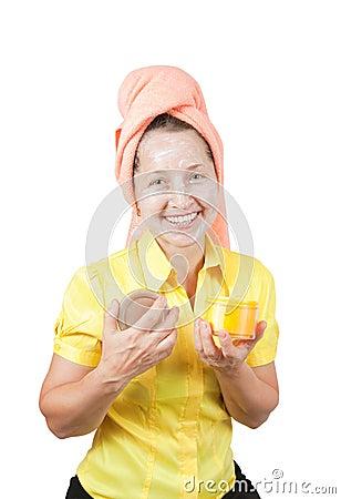 Smiling women with toiletries