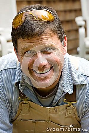 Free Smiling Worker Man Stock Image - 10156851