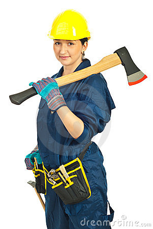 Smiling worker woman with ax