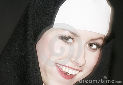 Smiling young adult nun