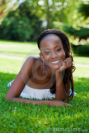 Smiling young african american girl