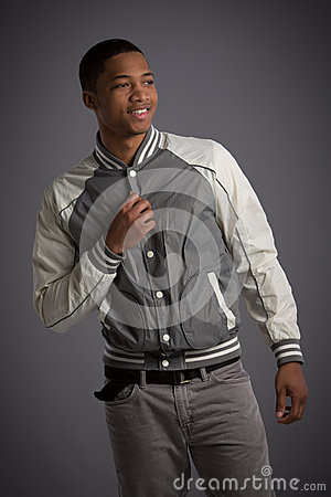 Smiling Young African American Male Model Natural Looking