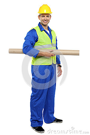 Smiling young architect holding blueprints