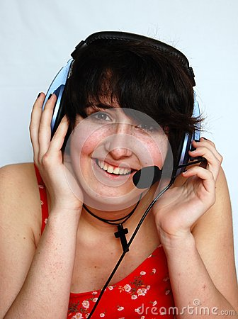Smiling young DJ Girl