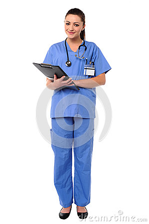 Smiling young female doctor at duty