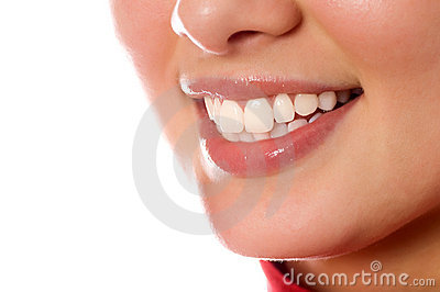Smiling young girl mouth with great teeth