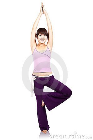 Smiling young girl and yoga