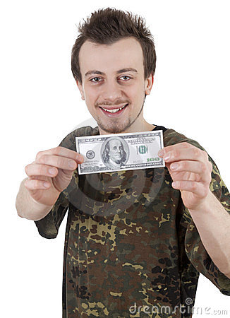 Smiling young guy holding one hundred dollars