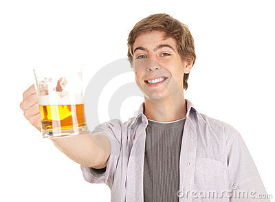 Smiling young handsome man with beer