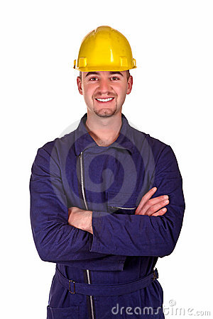 Smiling young heavy industry man