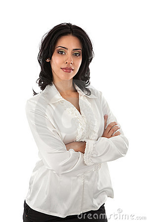 Smiling Young Hispanic Businesswoman with on White