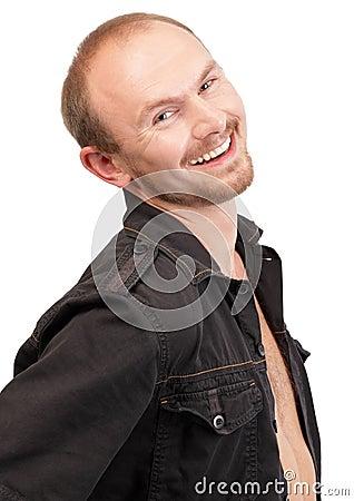 Smiling young macho portrait