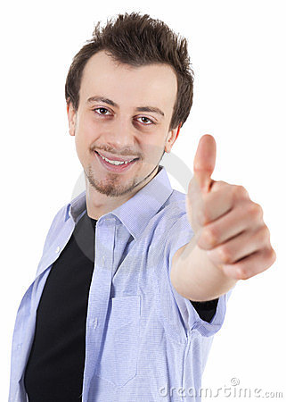 Smiling young man with thumb up