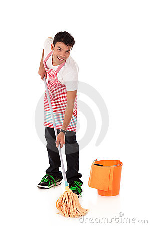 Smiling young Nepalese man, housework