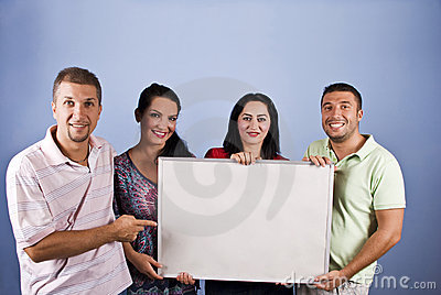Smiling young people with add banner