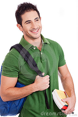 Smiling Young student carrying bag and books