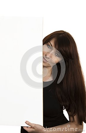 Smiling young woman with a blank board