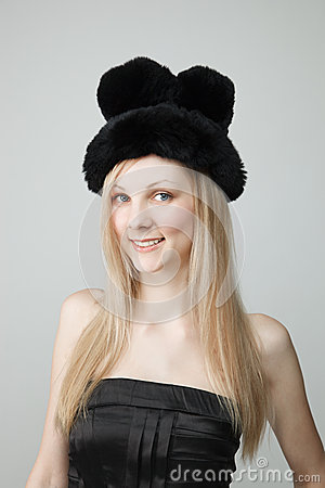 Smiling Young Woman in Fur Hat