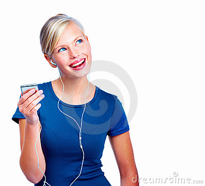 Smiling Young Woman Listening To Music Stock Photos - Image: 6802593