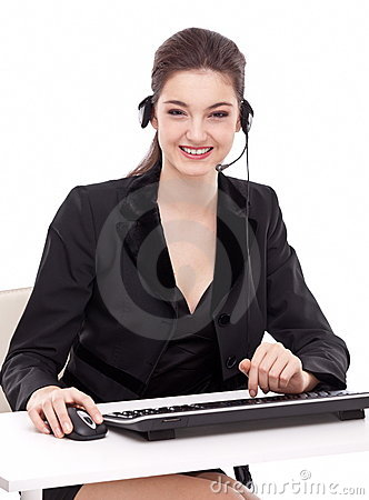 Smiling young woman - operator