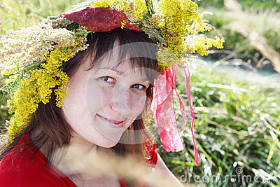 Smiling Young Woman over Field Portrait
