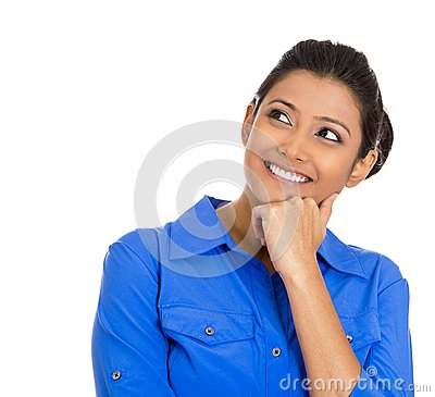 Smiling young woman, student thinking