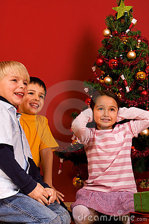 Smilling children in Christmas time