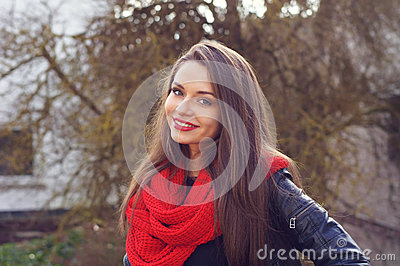 Smilling girl outdoor portrait