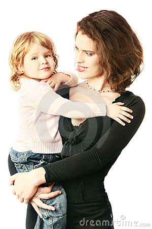Smilling mother holding child