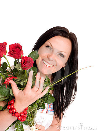 Smilling woman with buquet of roses