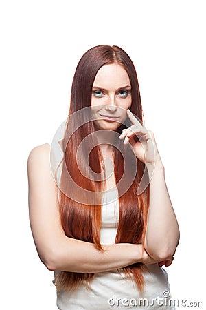 Smirking red haired girl