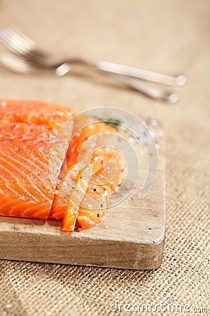Smocked salmon homemade sliced