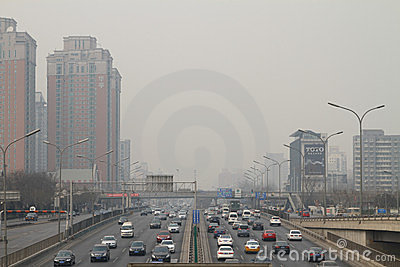 Smog in Beijing Editorial Photo