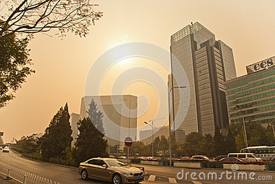 Smog in Beijing Editorial Photography