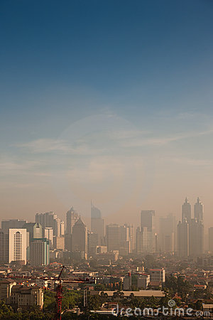 Smog dome over a polluted city