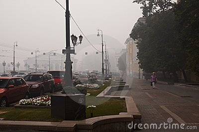 Smog in Moscow Editorial Stock Image