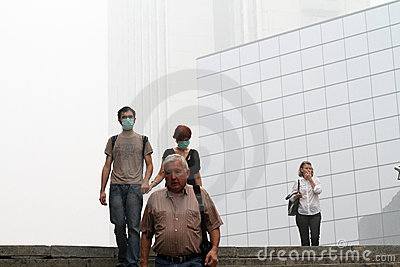 Smog in Moscow and Moscow region. Editorial Photography