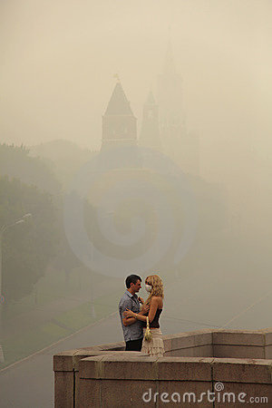 Smog in Moscow, Russia. Kremlin. Editorial Stock Image