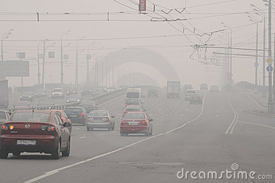 Smog over the Bridge in Moscow Editorial Image