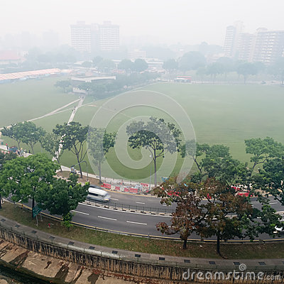 Smog over housing estate in Singapore Editorial Stock Image