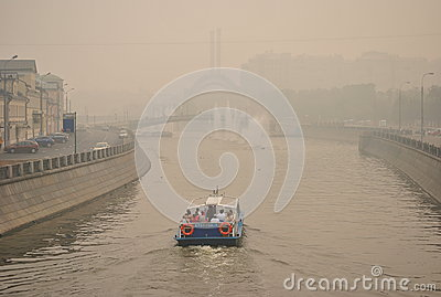 Smog over Moscow Editorial Stock Image