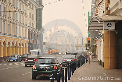 Smog over Moscow Editorial Image