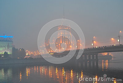 Smog over Moscow Editorial Photography