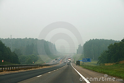 Smog on the road Editorial Stock Image