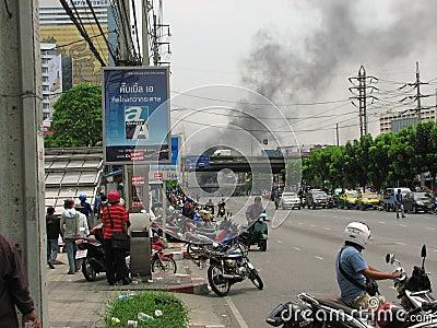 Smoke from burning tires