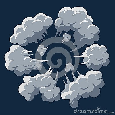 Free Smoke Cloud Explosion. Dust Puff Cartoon Frame Vector Royalty Free Stock Photography - 116759777